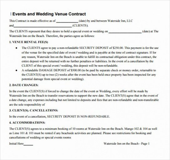 Best Venue Rental Contract Template Pdf Sample
