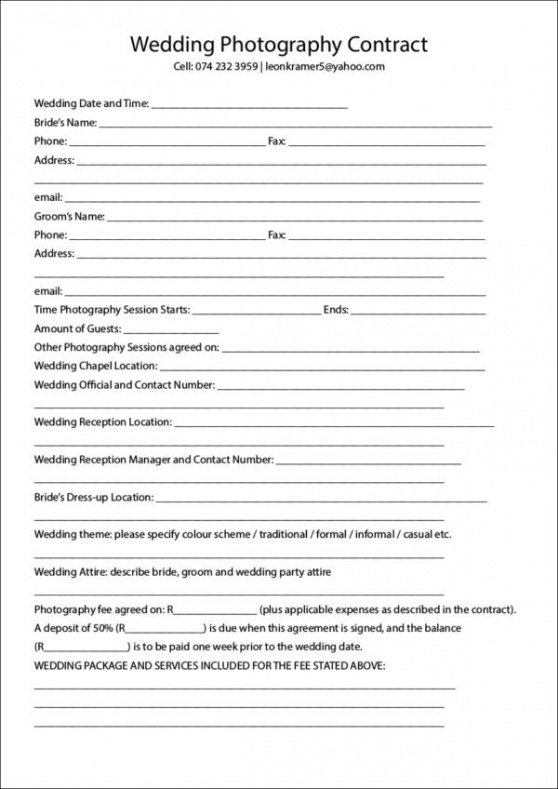 Commercial Photography Contract Template Pdf Example