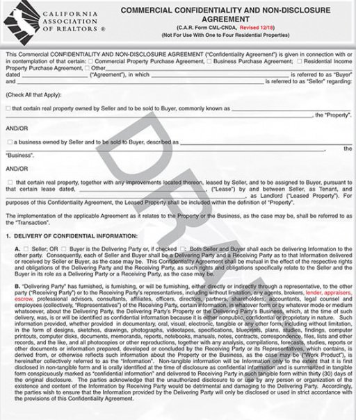 Commercial Real Estate Contract Template Doc Example