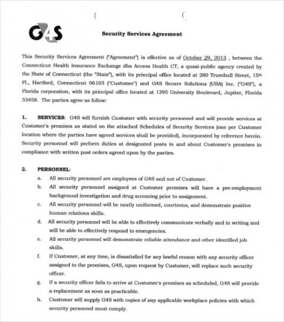 Costum Security Service Guard Contract Template Word Sample
