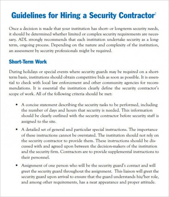 Editable Security Service Guard Contract Template Word Sample