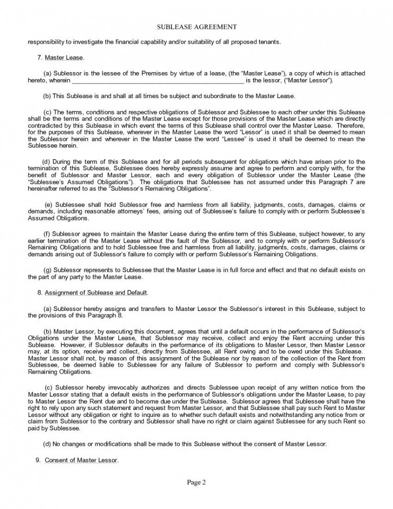 Editable Subletting Contract Template Pdf