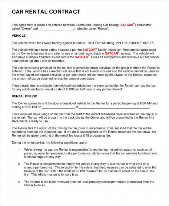 Free Rent To Own Car Contract Template Doc Sample
