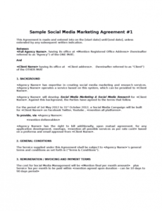 Free Social Media Marketing Services Contract Template Pdf Example