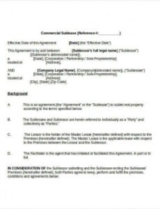 Free Subletting Contract Template Excel Example