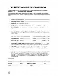 Free Subletting Contract Template Excel Sample
