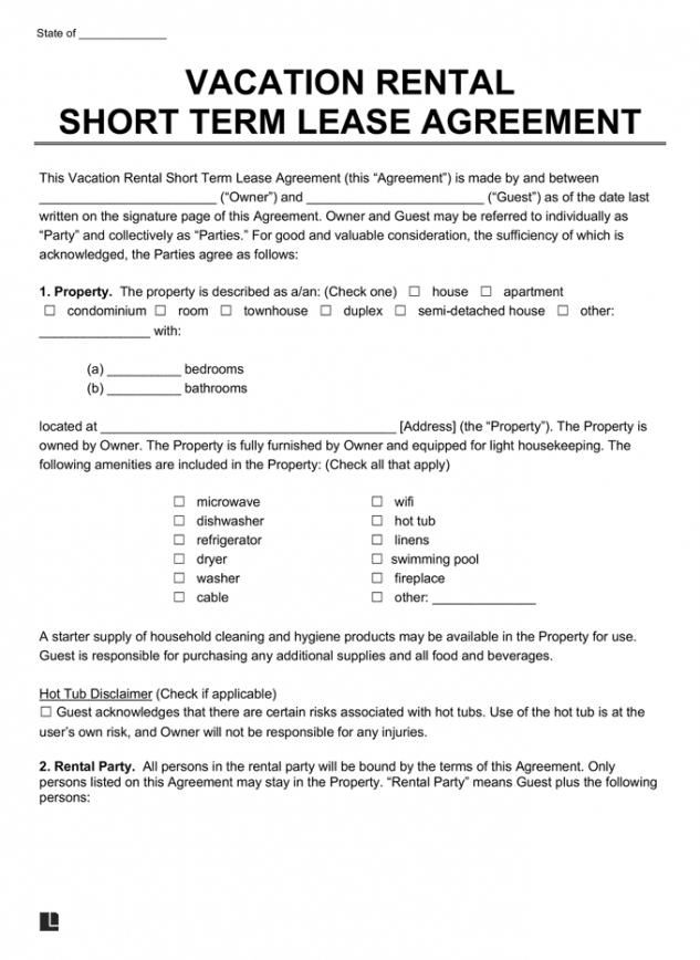 Printable Condo Rental Contract Template Excel Sample