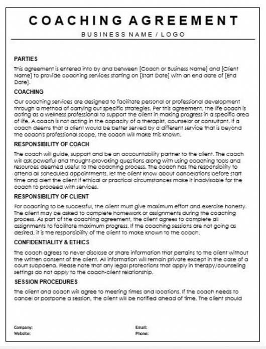 Printable Life Coaching Contract Template Pdf