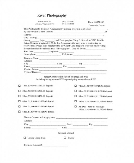 Professional Commercial Photography Contract Template Pdf Example