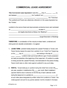 Professional Commercial Property Lease Contract Template Doc Sample