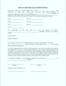 Professional Contract Template For Selling A Car Privately Pdf Example