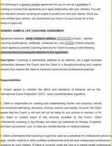 Professional Life Coaching Contract Template Word