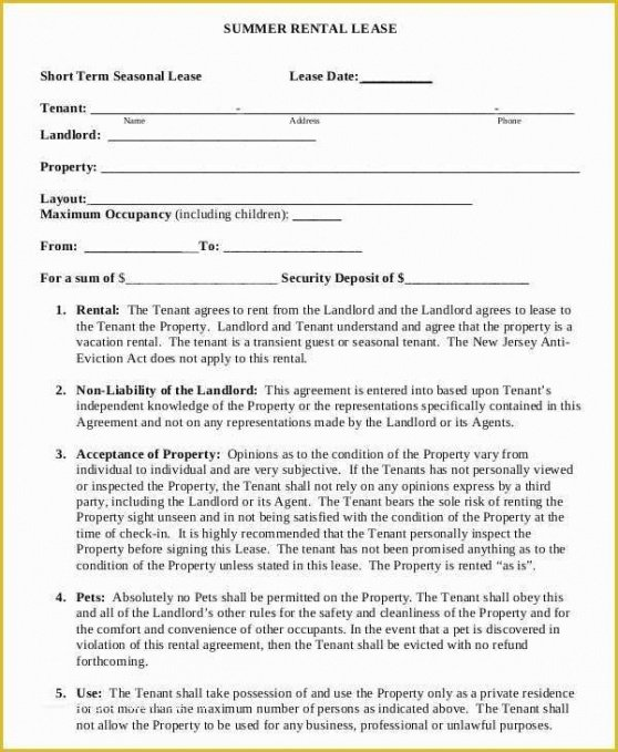 Professional Short Term Rental Contract Template Word