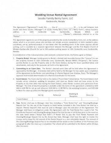 Venue Rental Contract Template Excel Example