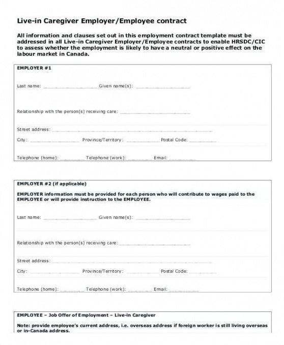 Best Family Caregiver Contract Template Word