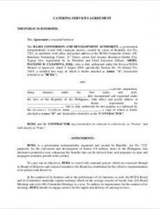 Best Food Catering Contract Template Pdf Sample