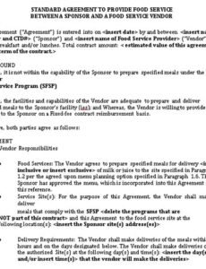 Best Food Service Contract Template Doc