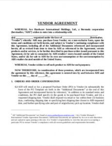 Best Food Vendor Contract Template Doc