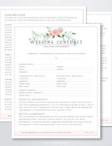 Best Wedding Florist Contract Template Pdf Sample