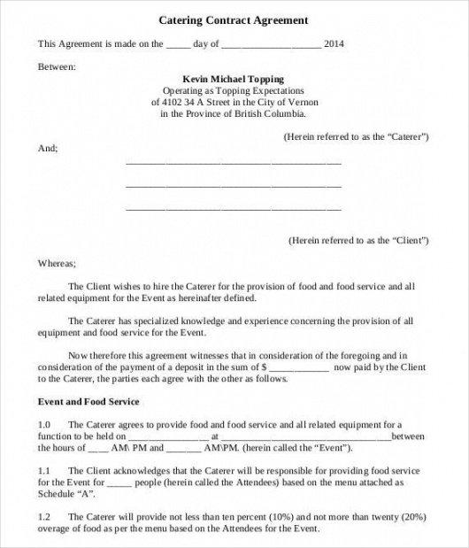 Costum Food Service Contract Template Pdf Sample