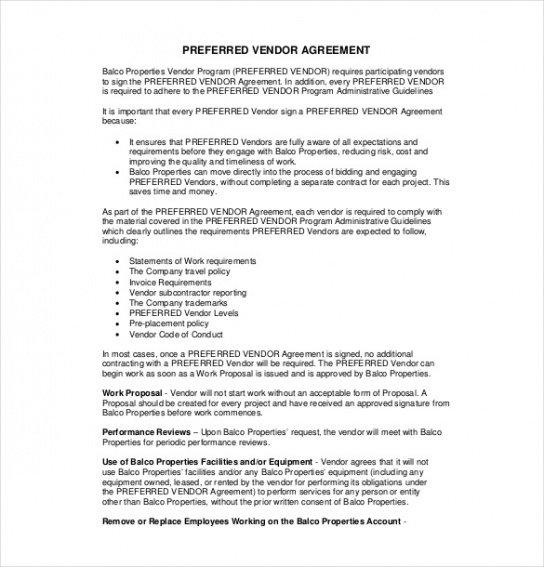 Costum Food Vendor Contract Template Excel Example