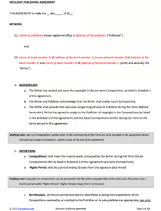 Costum Publisher Contract Template Excel Example