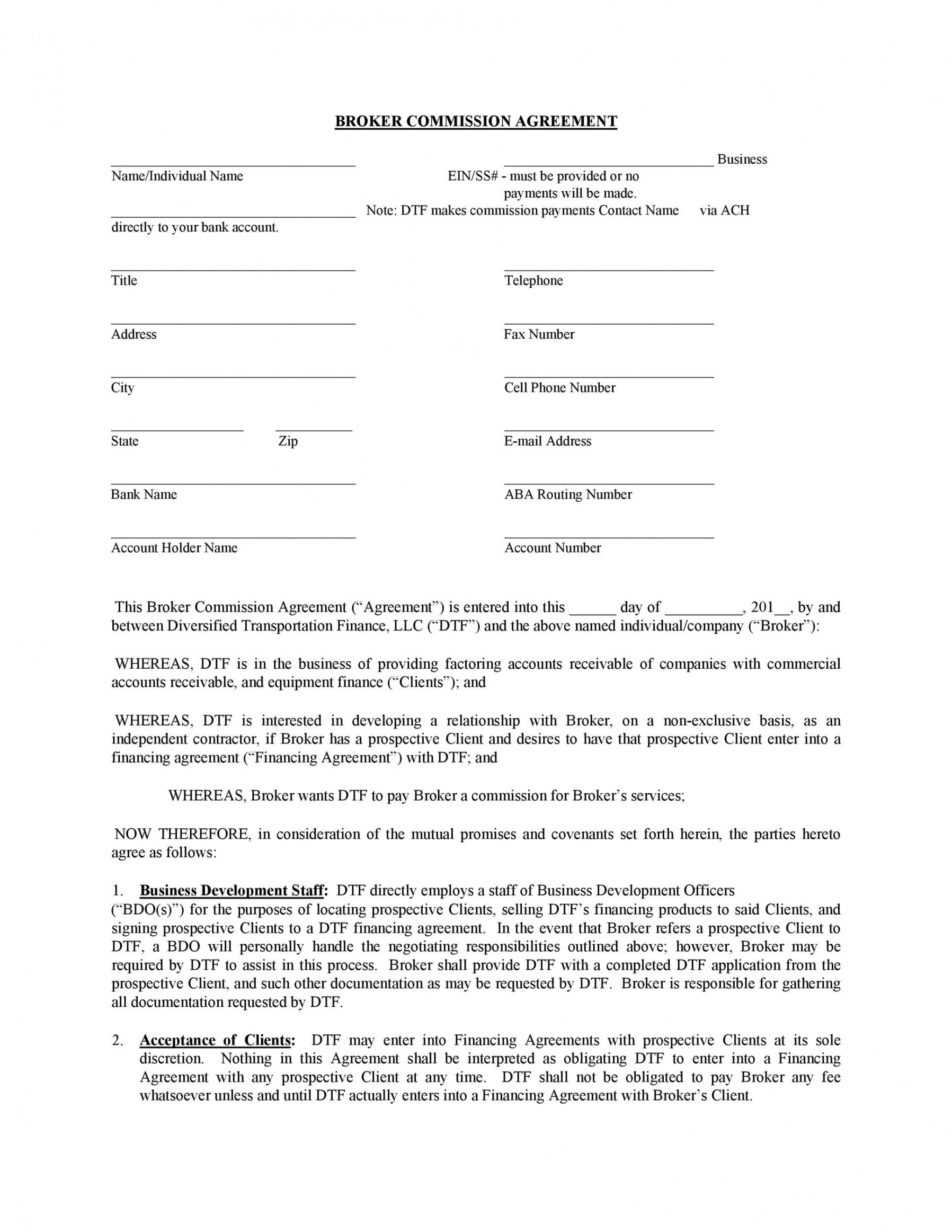 Costum Sales Commission Contract Template Doc