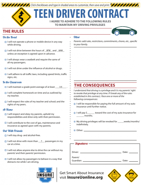 Costum Teenager Contract With Parents Template Pdf