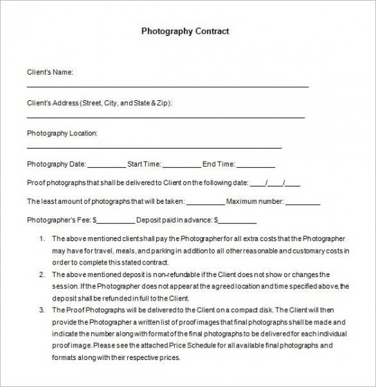 Editable Contract For Photography Services Template  Example