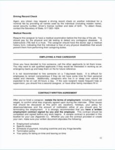 Editable Family Caregiver Contract Template  Example