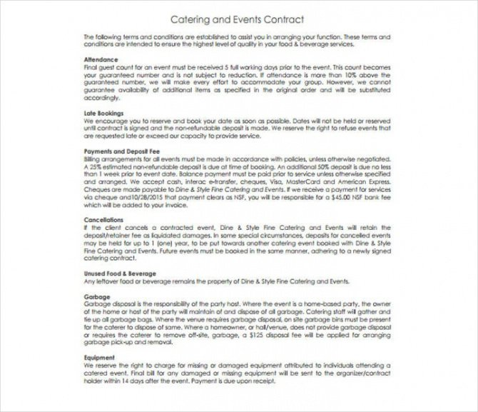 Editable Food Catering Contract Template Word