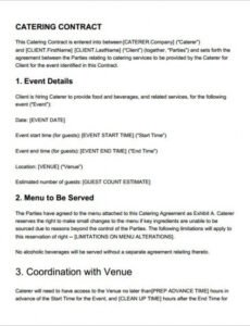 Editable Food Service Contract Template Word Sample
