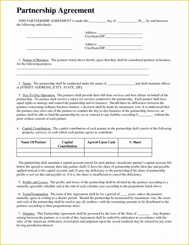 Editable General Partnership Contract Template  Sample