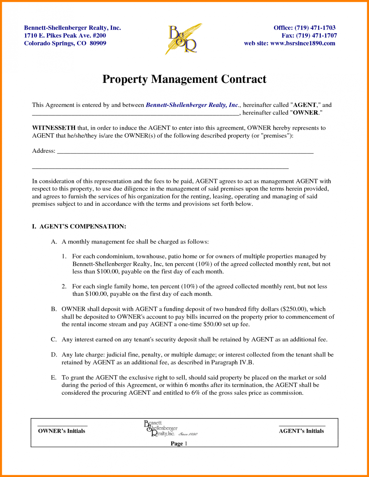 Editable Property Manager Contract Template Pdf Sample