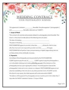 Editable Wedding Florist Contract Template  Example