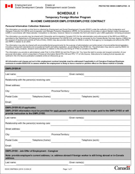 Family Caregiver Contract Template  Sample