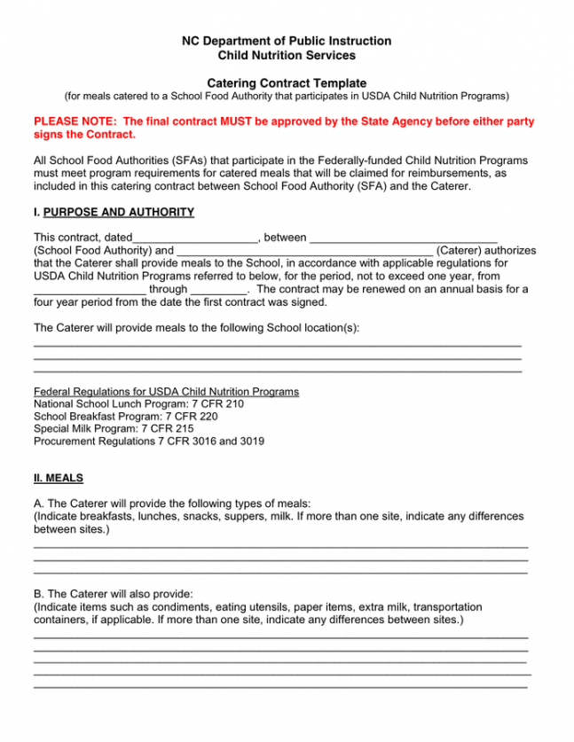 Food Catering Contract Template Word Sample