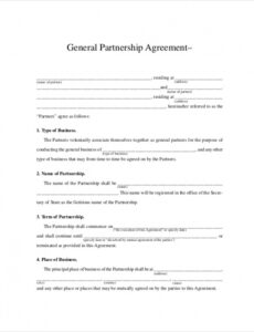 Free Company Partnership Contract Template Doc Sample