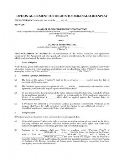 Free Exclusive Rights Contract Template Pdf Example