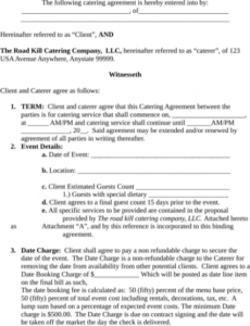 Free Food Service Contract Template Word Example