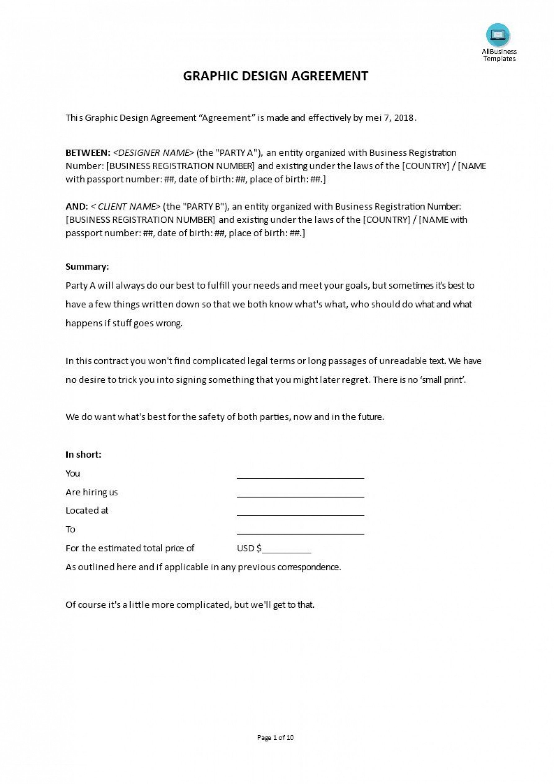 Free Freelance Graphic Design Contract Template Doc Example