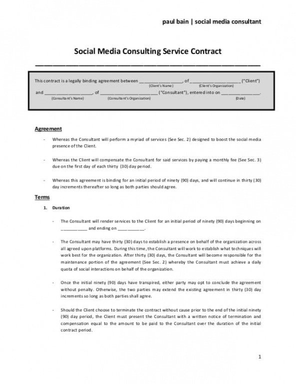 Free Freelance Marketing Contract Template Excel Sample