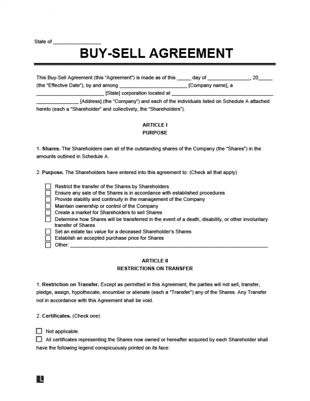 Free Legal Business Contract Template  Sample