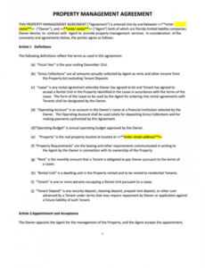 Free Property Manager Contract Template Doc Sample