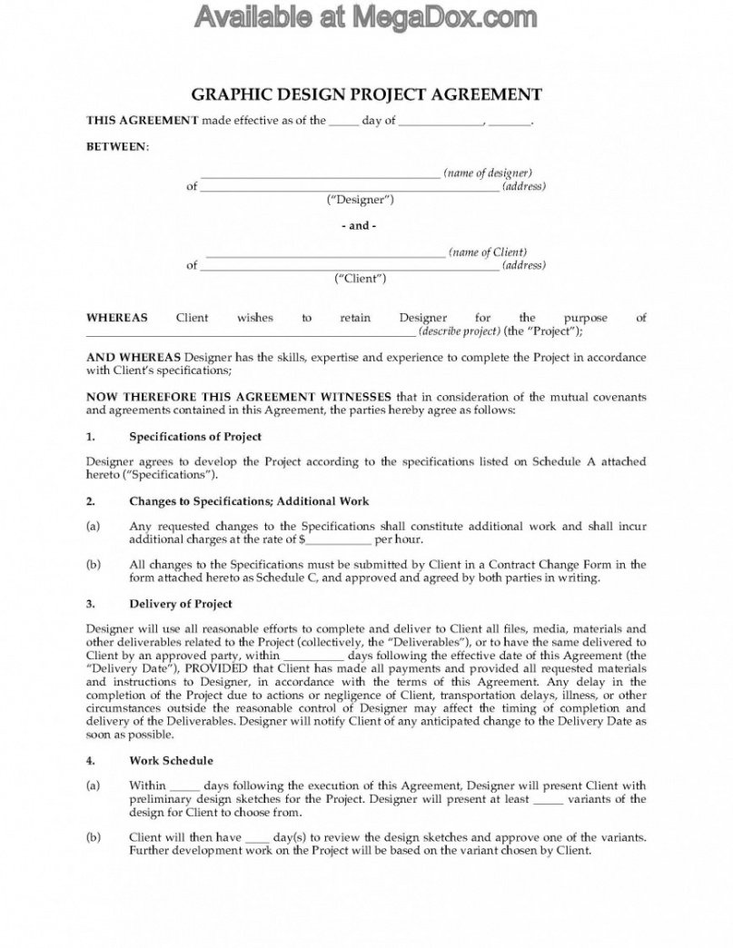 Freelance Graphic Design Contract Template Excel Example