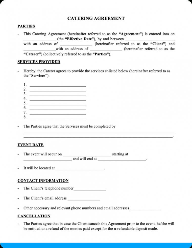 Printable Food Catering Contract Template Word Example