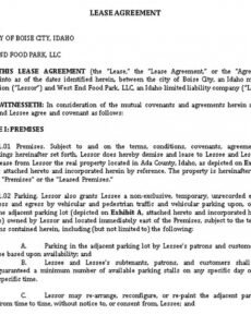 Printable Food Truck Contract Template Excel Sample