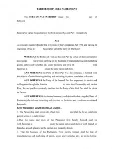 Printable General Partnership Contract Template Word Sample