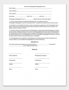 Professional Contract For Photography Services Template Pdf Example