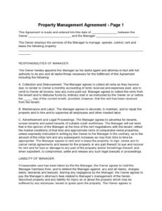 Professional Property Manager Contract Template Pdf